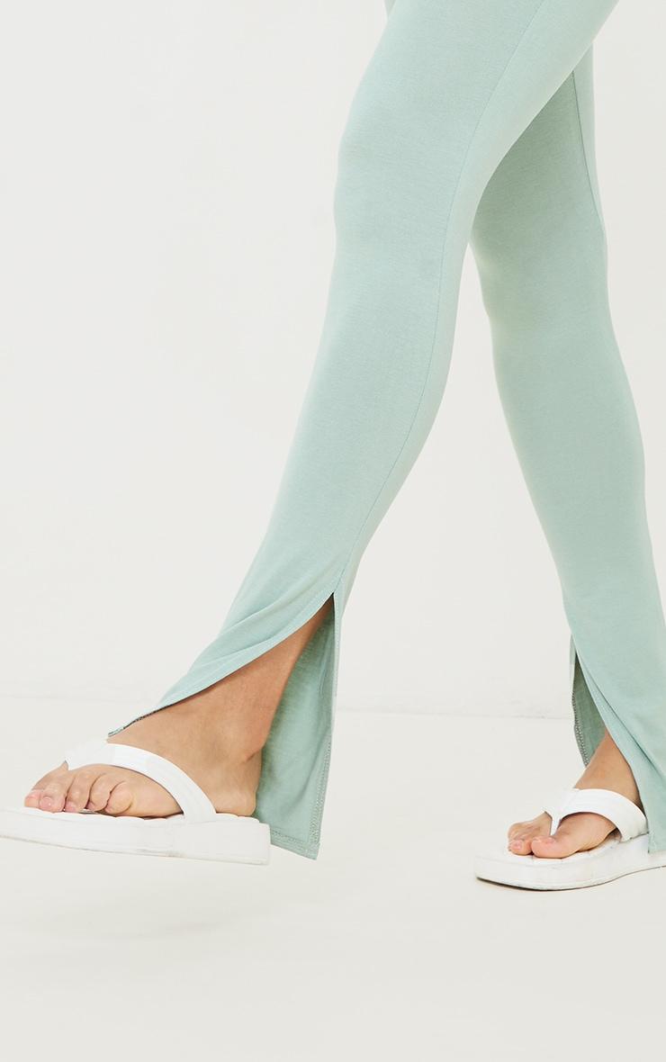 Sage Green Jersey Split Hem Leggings 4
