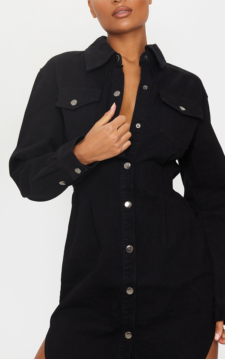 Black Cinched Waist Long Sleeve Denim Dress 4
