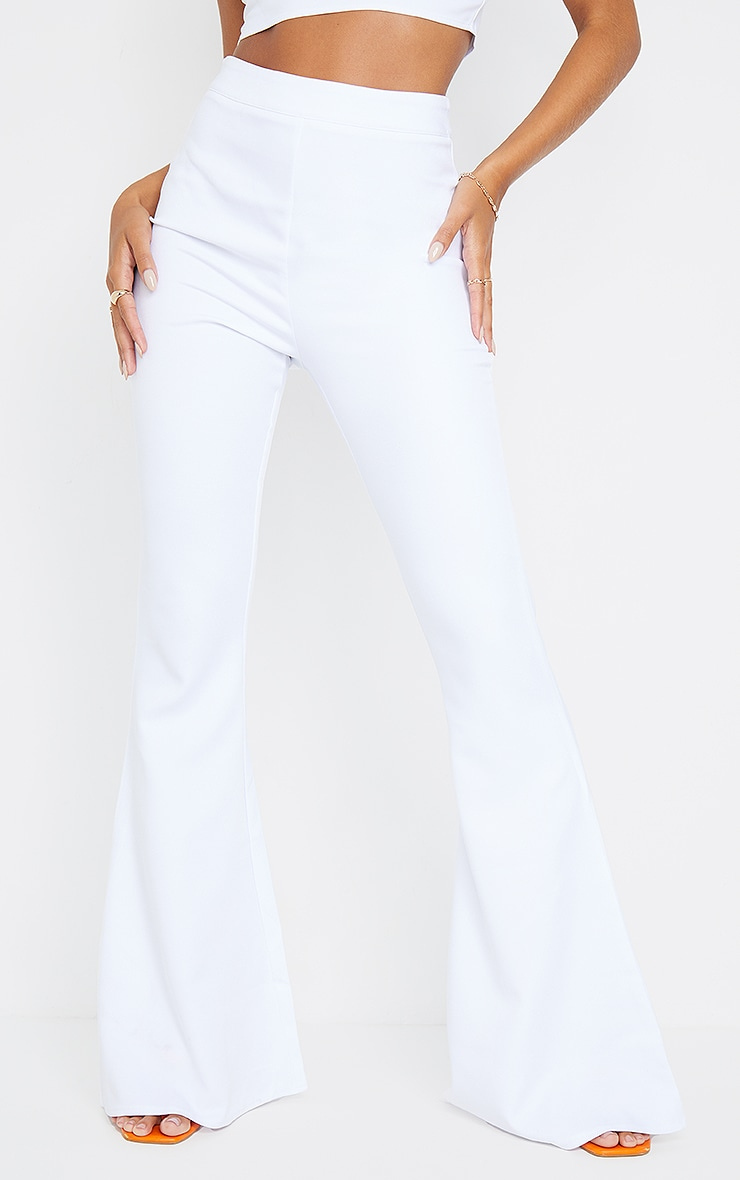 White Woven High Waisted Flare Trousers 2