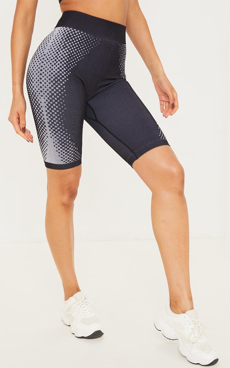 Black Contour Dot Seamless Bike Shorts 2