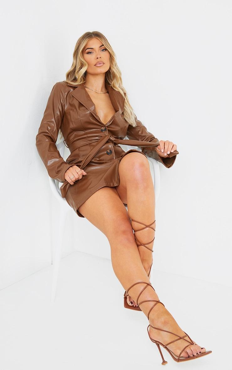 Chocolate PU Tortoiseshell Button Tie Waist Blazer Dress 3