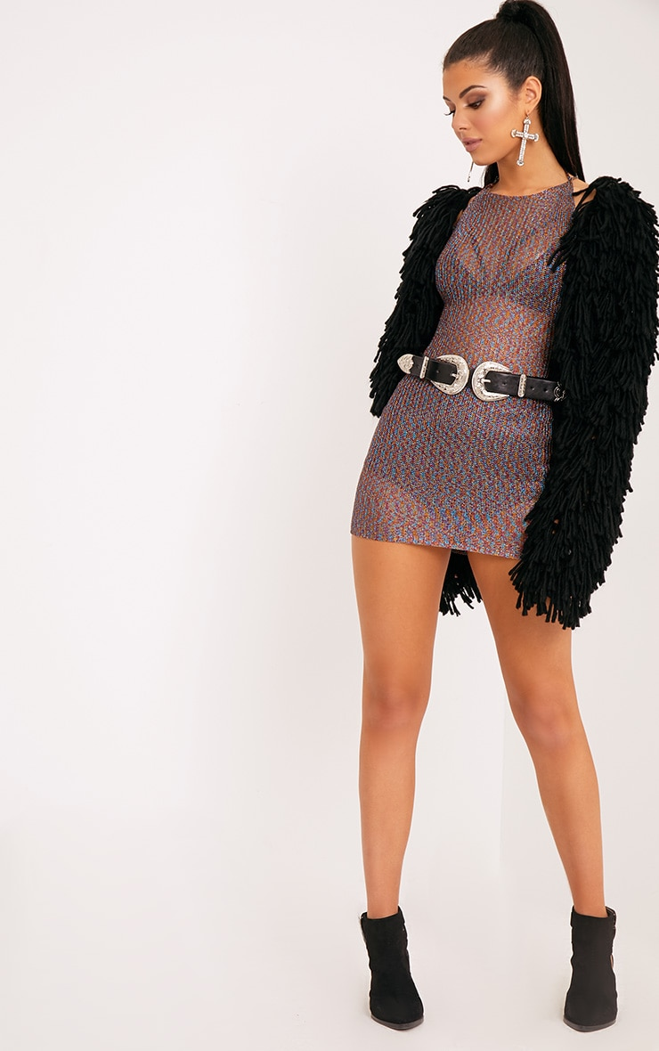 Charlay Multi Metallic Knit Halterneck Mini Dress 4