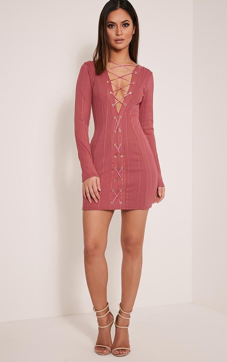 Nya Rose Lace Up Bandage Dress 5