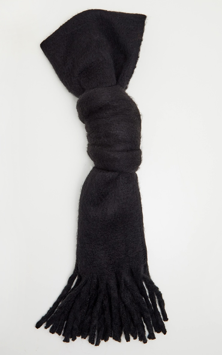 Black Plain Oversized Scarf 2