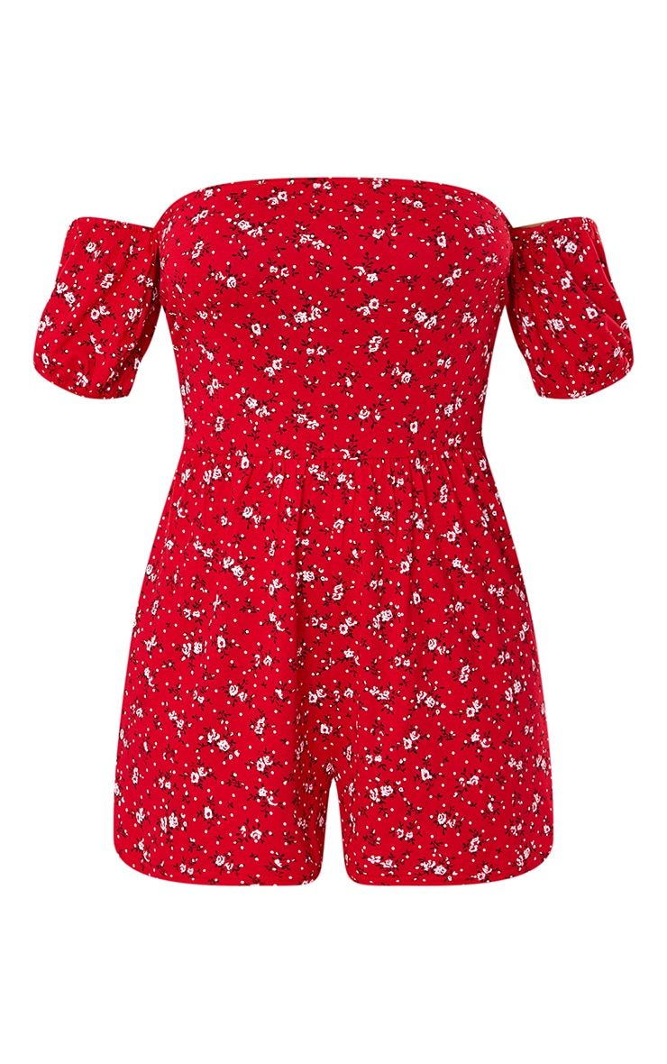 Red Polka Dot Tie Back Frill Detail Playsuit 5