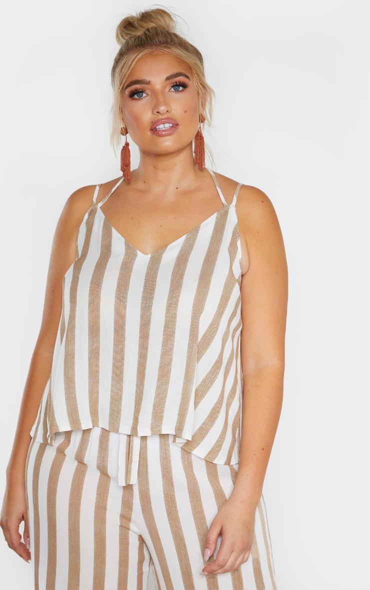 Plus Stone Striped Woven Tie Back Cami Top  1