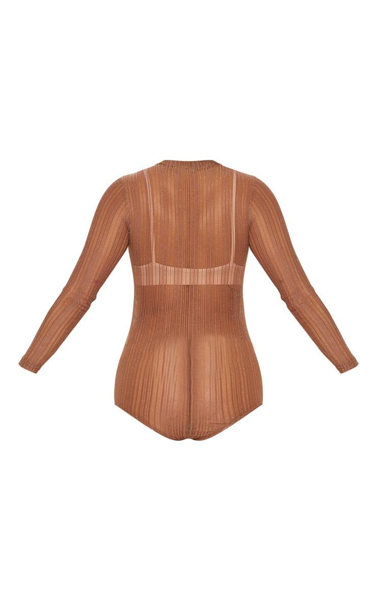 Camel Glitter Knit Bodysuit 4