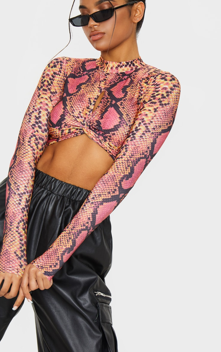 Pink Snake Print Twist Front Long Sleeve Crop Top 5