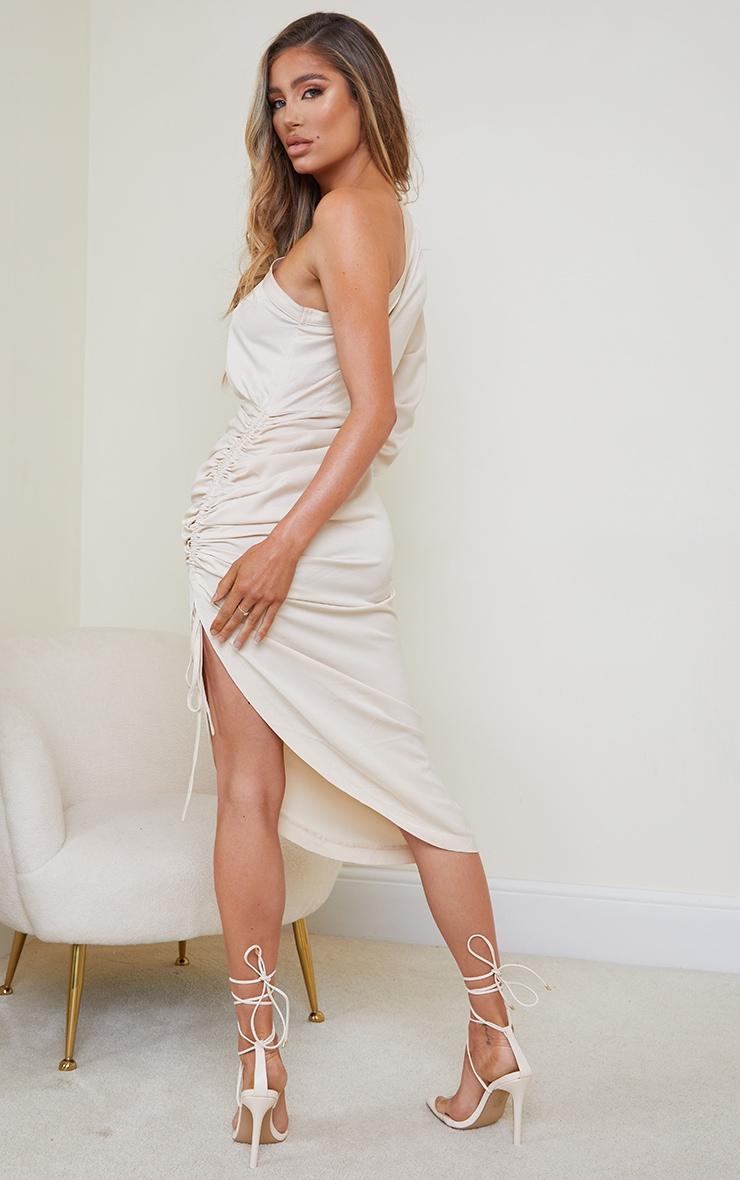 Stone Ruched Sleeve One Shoulder Midi Dress 2