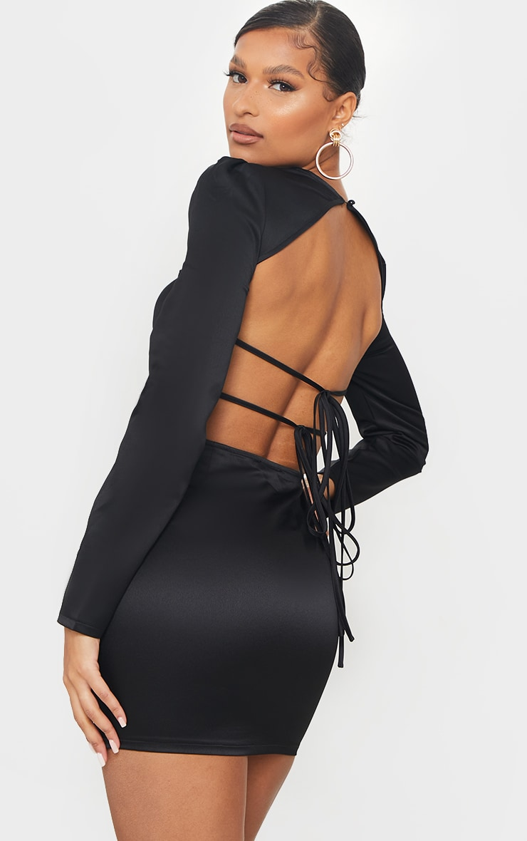 Black Long Sleeve Corset Detail Tie Back Bodycon Dress 2