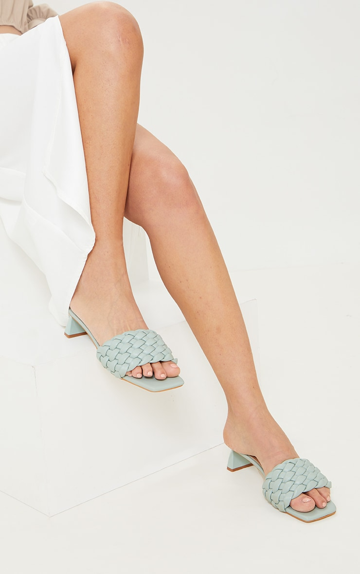 Sage Green Plaited Strap Low Block Flare Heel Mules 1