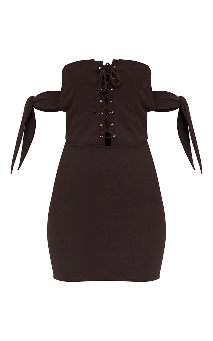 Black Tie Sleeve Corset Bodycon Dress 3