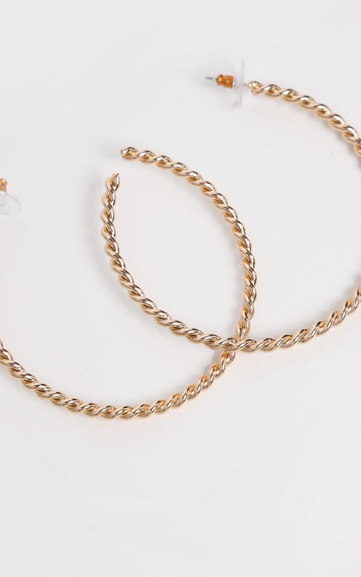 Gold Thin Twisted Half Hoop Earrings 1