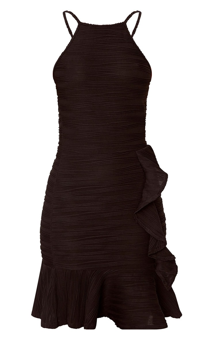 Black Pleated Ruffle Detail Bodycon Dress 3