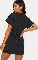Black Pin Stripe Belt T Shirt Dress 2