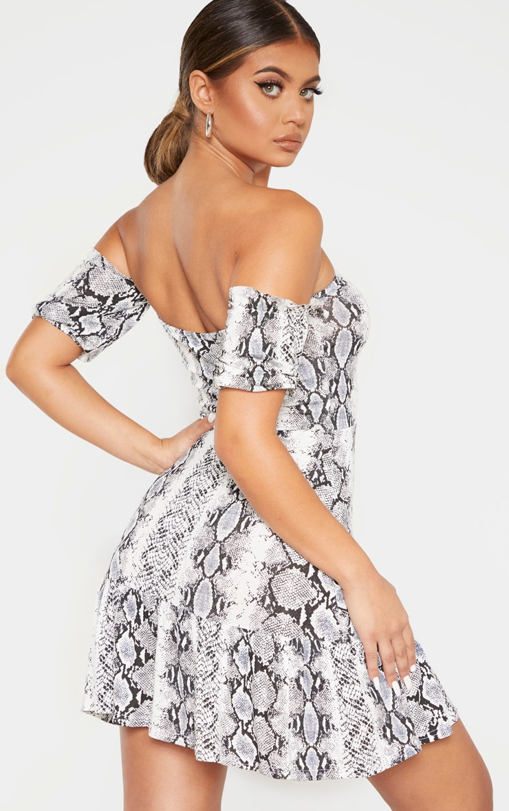Grey Snake Print Bardot Frill Hem Skater Dress 2