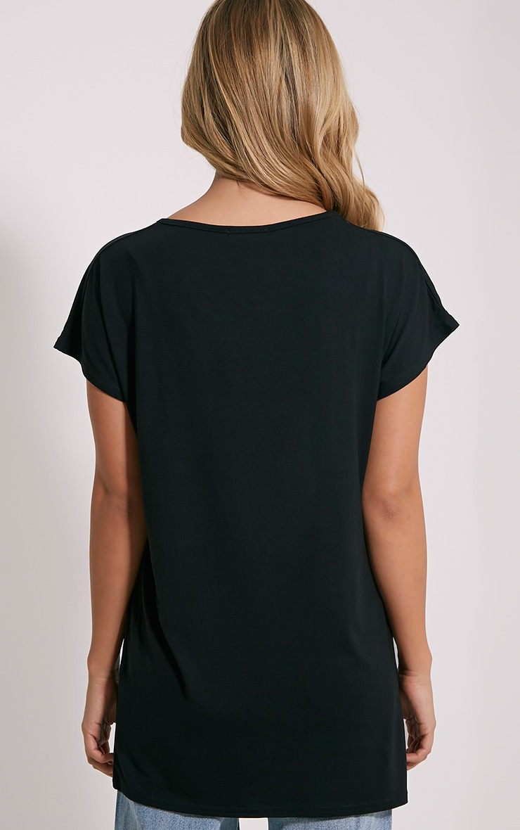 Basic t-shirt surdimensionné à col rond noir 2
