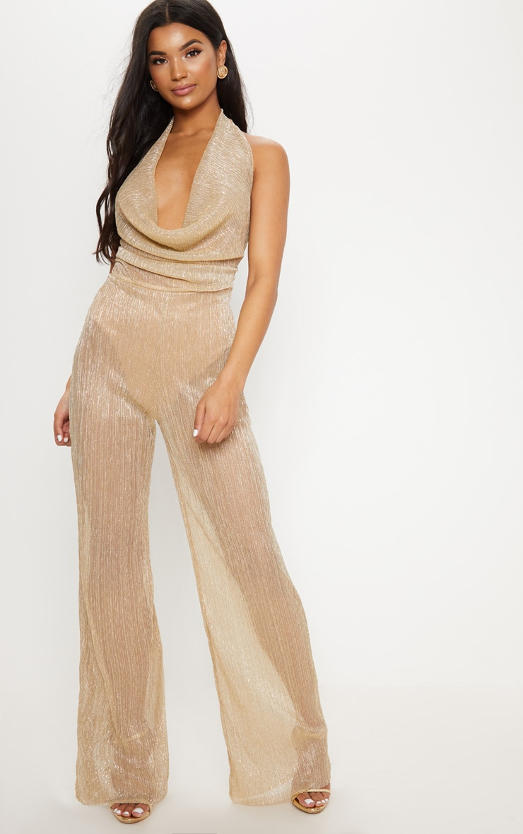 Gold Metallic Cowl Neck Jumpsuit