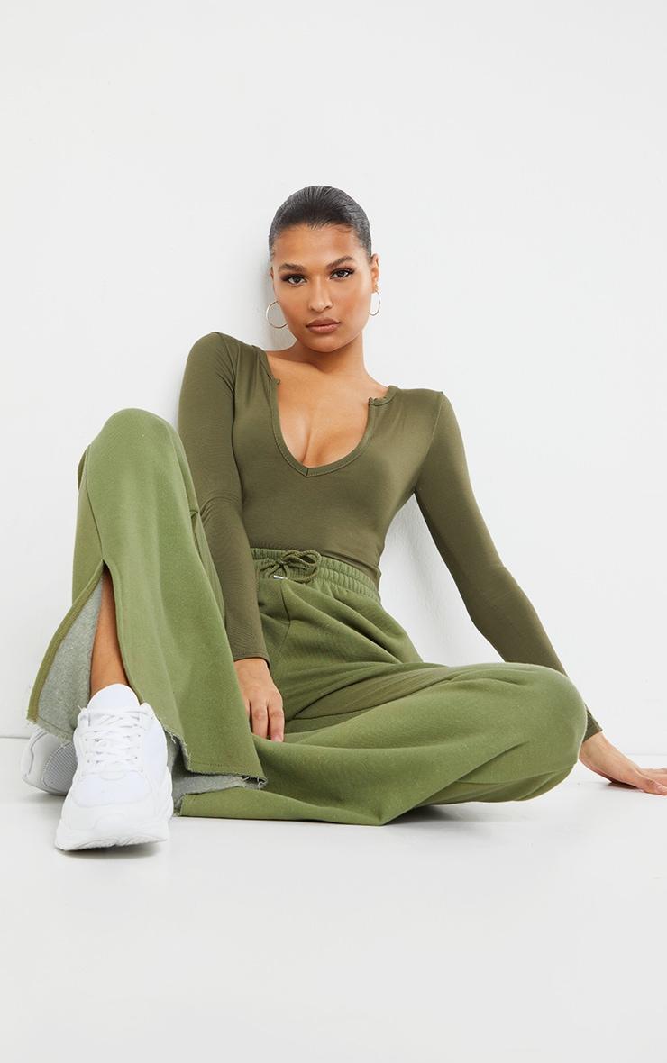 Basic Khaki Plunge Long Sleeve Bodysuit 1