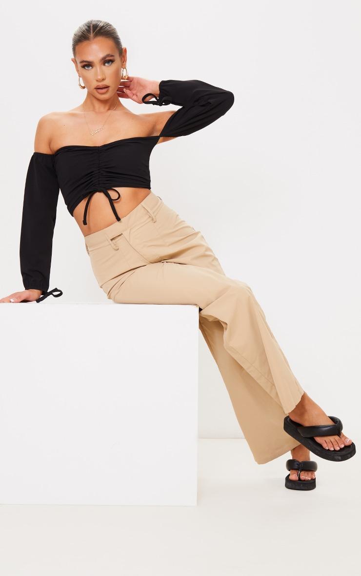 Black Ruched Detail Bardot Long Sleeve Crop Top 3