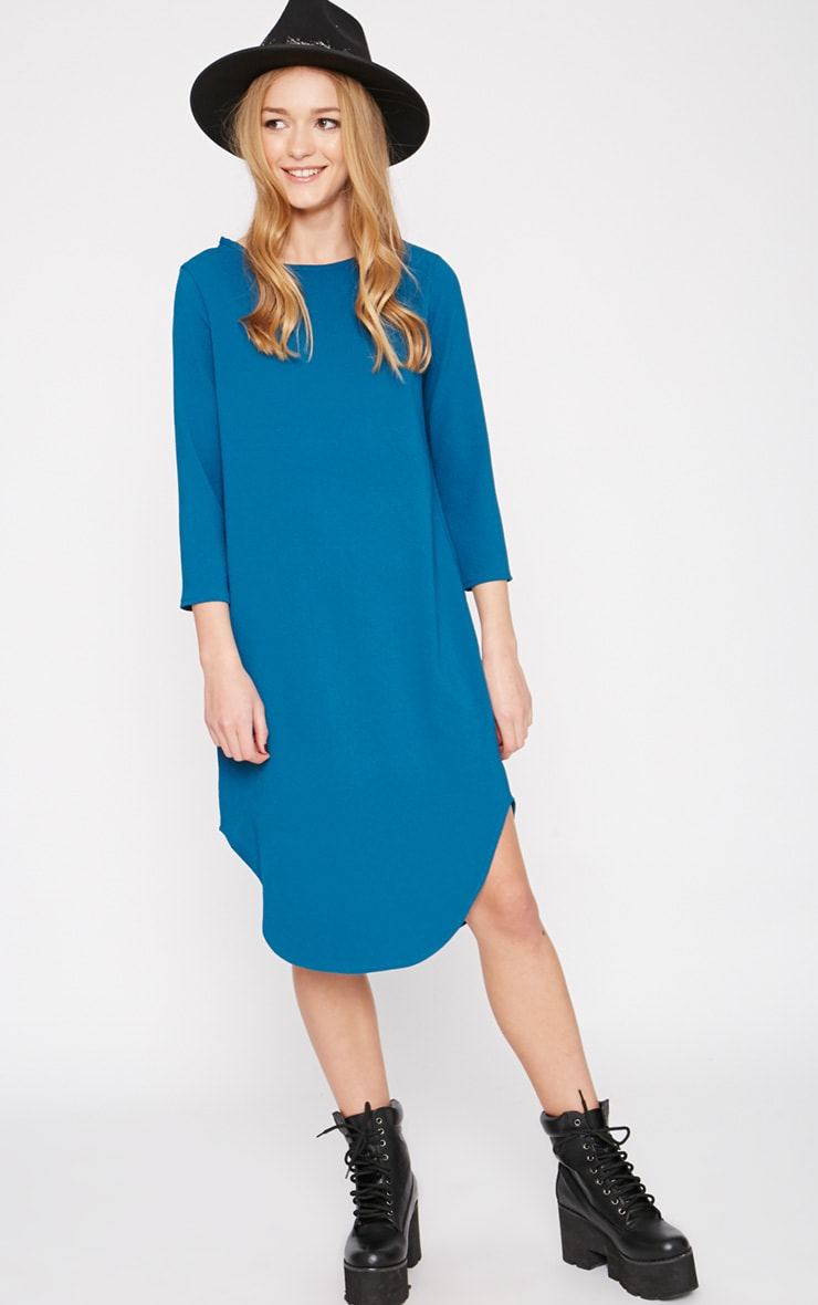 Camilla Teal Crepe Shift Dress 1