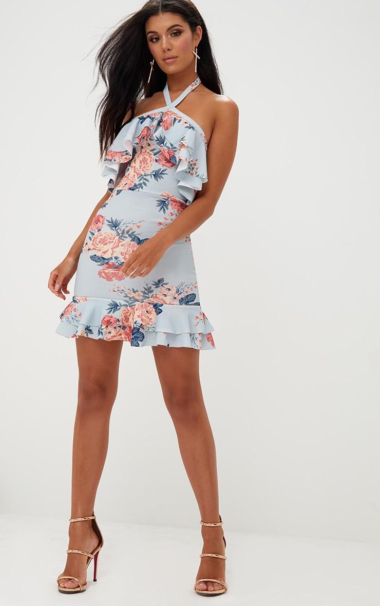 Grey Floral Frill Detail Halterneck Bodycon Dress 4