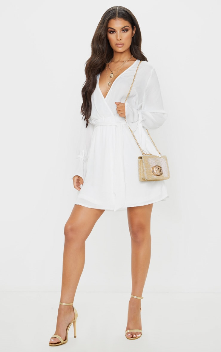 White Satin Wrap Cuff Detail Shift Dress 4