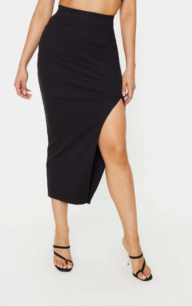 Tall Black Heavy Rib Midi Skirt 2