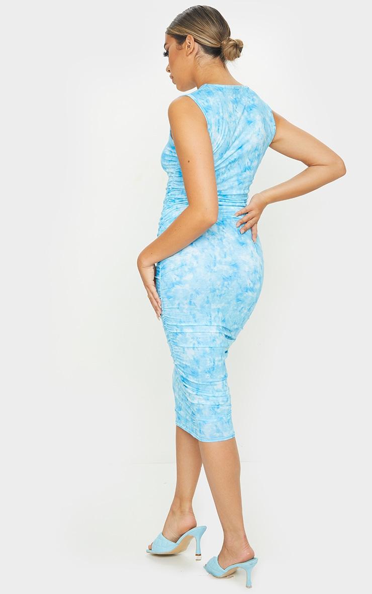 Blue Tie Dye Sleeveless Crew Neck Ruched Side Midi Dress 2