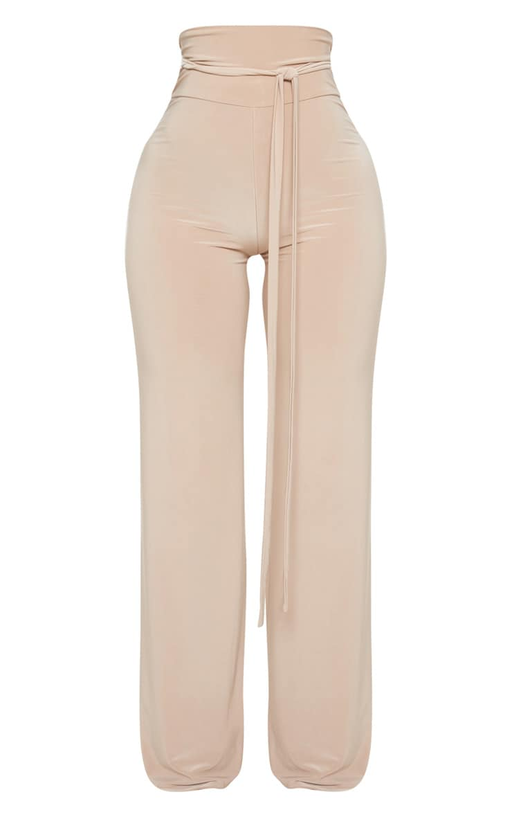 Shape Stone Slinky Extreme High Waist Detail Wide Leg Trousers 3