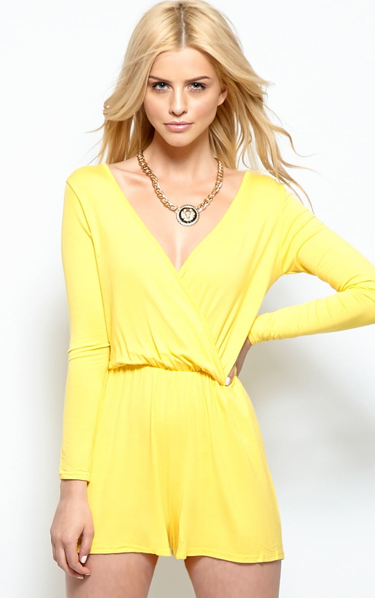 Maddison Yellow Wrap Over Playsuit  1