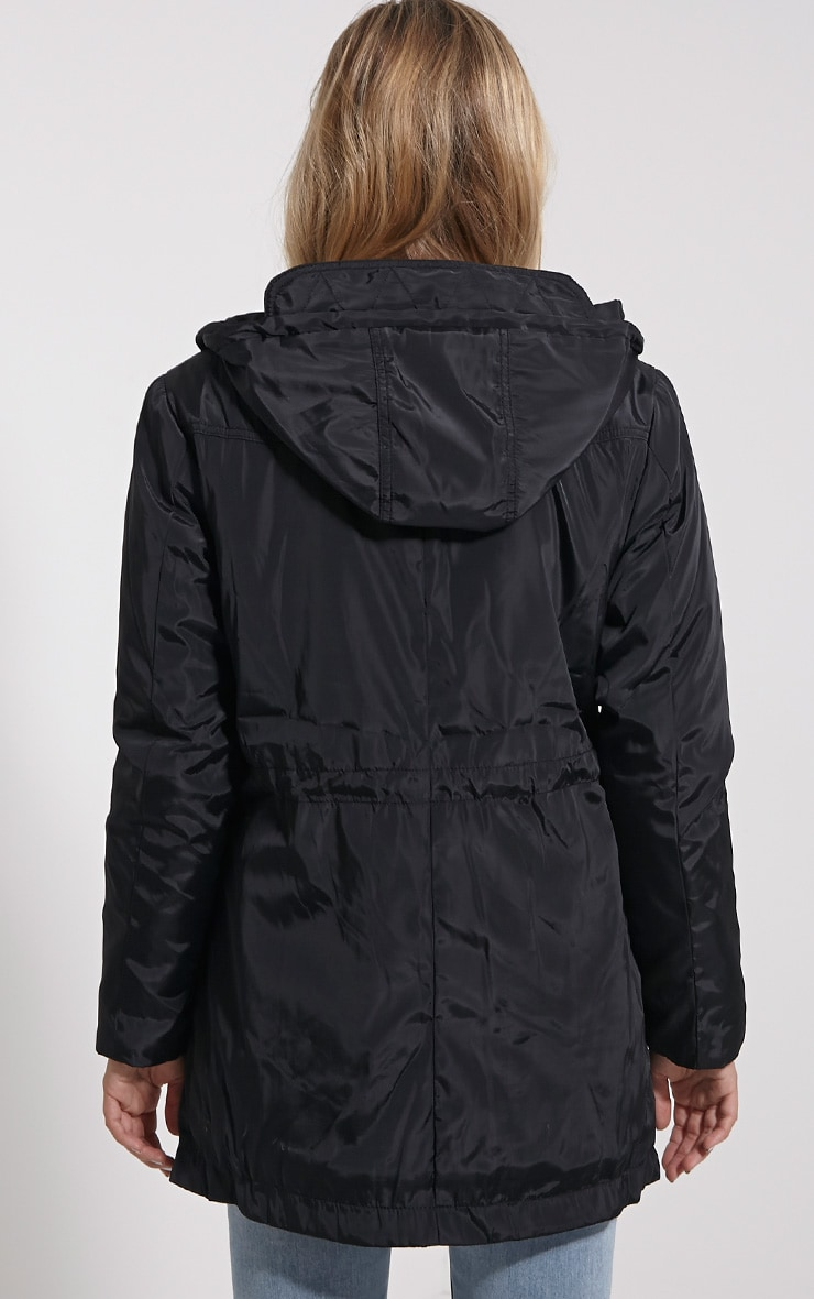 Safi Black Hooded Coat 2
