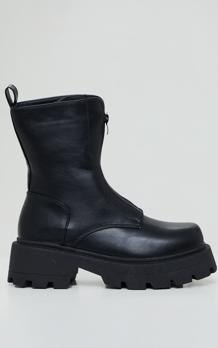 Black Matte PU Chunky Cleated Zip Up Boots 4