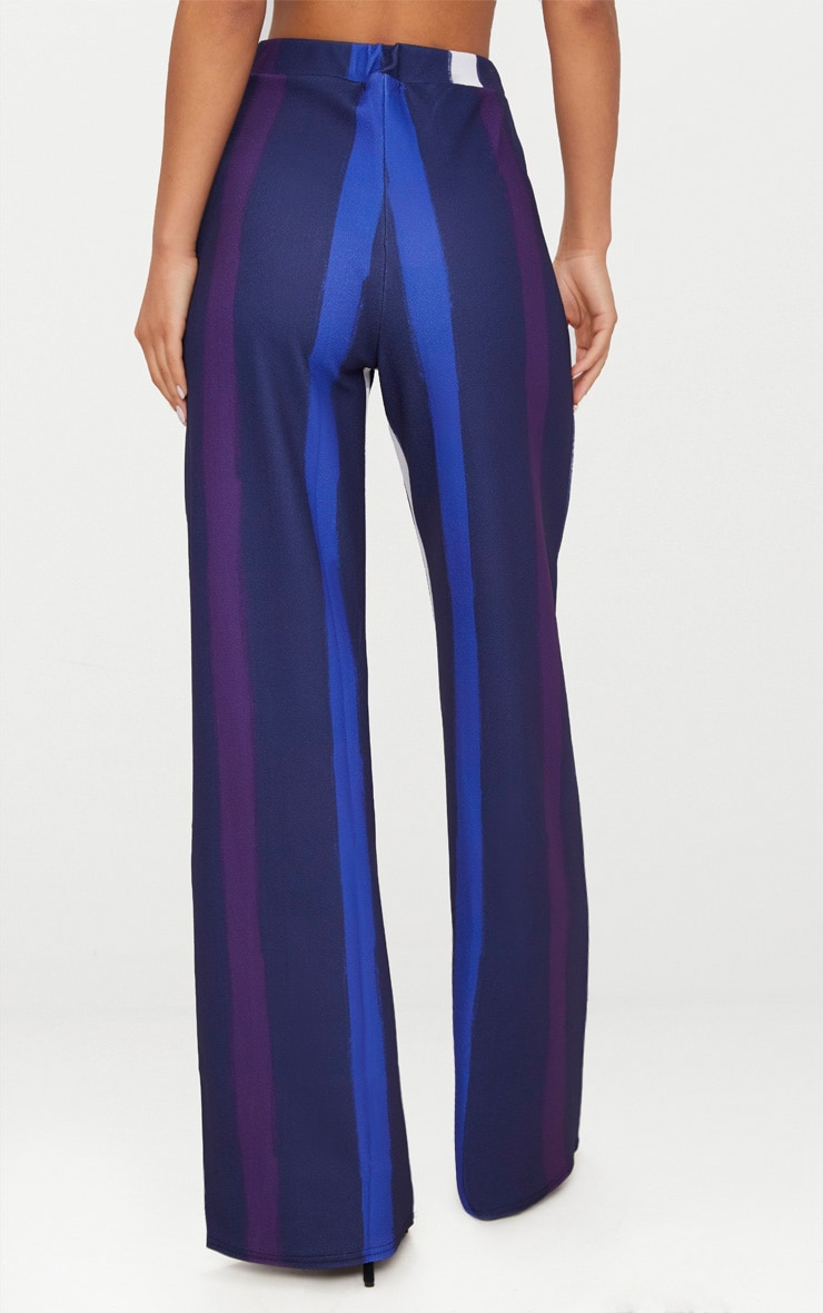 Navy Multi Thick Stripe Wide Leg Trousers  4