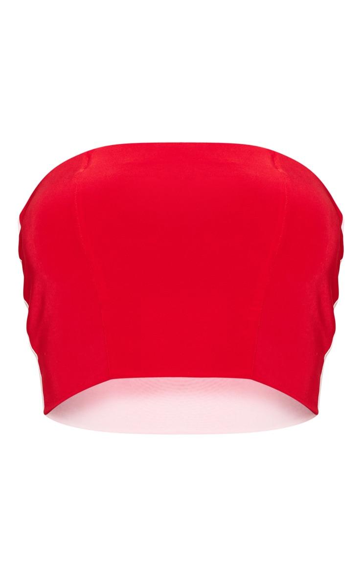 Red Slinky Bandeau Colour Block Crop 3