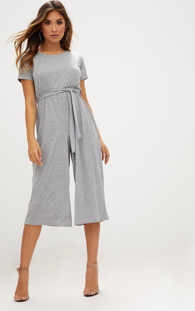 Grey Marl Jersey Short Sleeve Culotte Jumpsuit 1