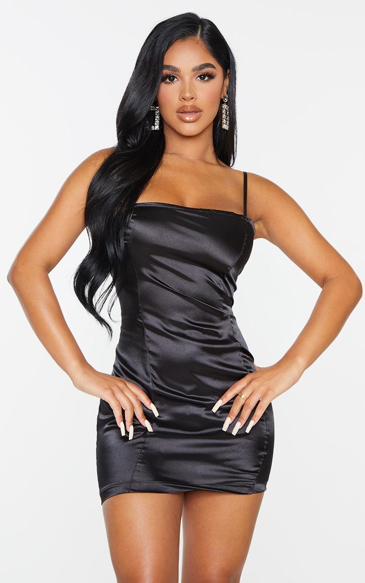 Petite Black Satin Strappy Straight Neck Bodycon Dress 1