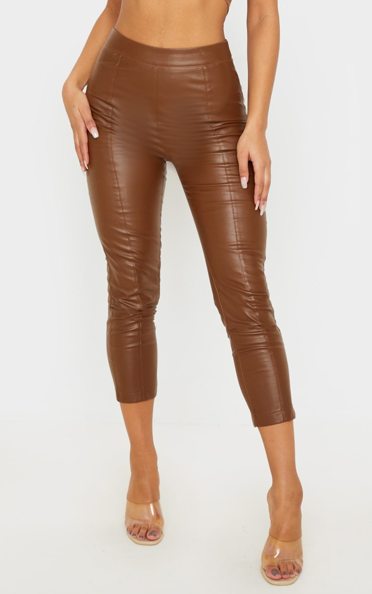 Chocolate Daysha Cropped Faux Leather Trousers 2