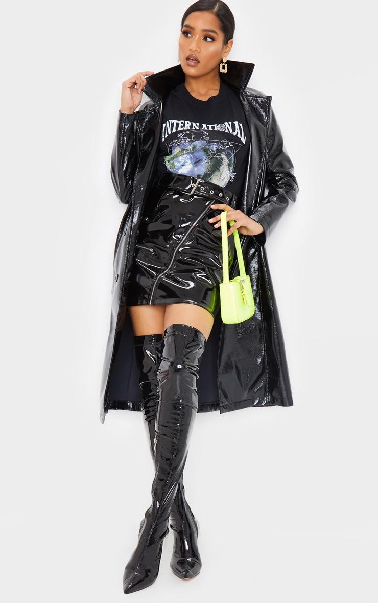 Black Vinyl Biker Belted Mini Skirt 2