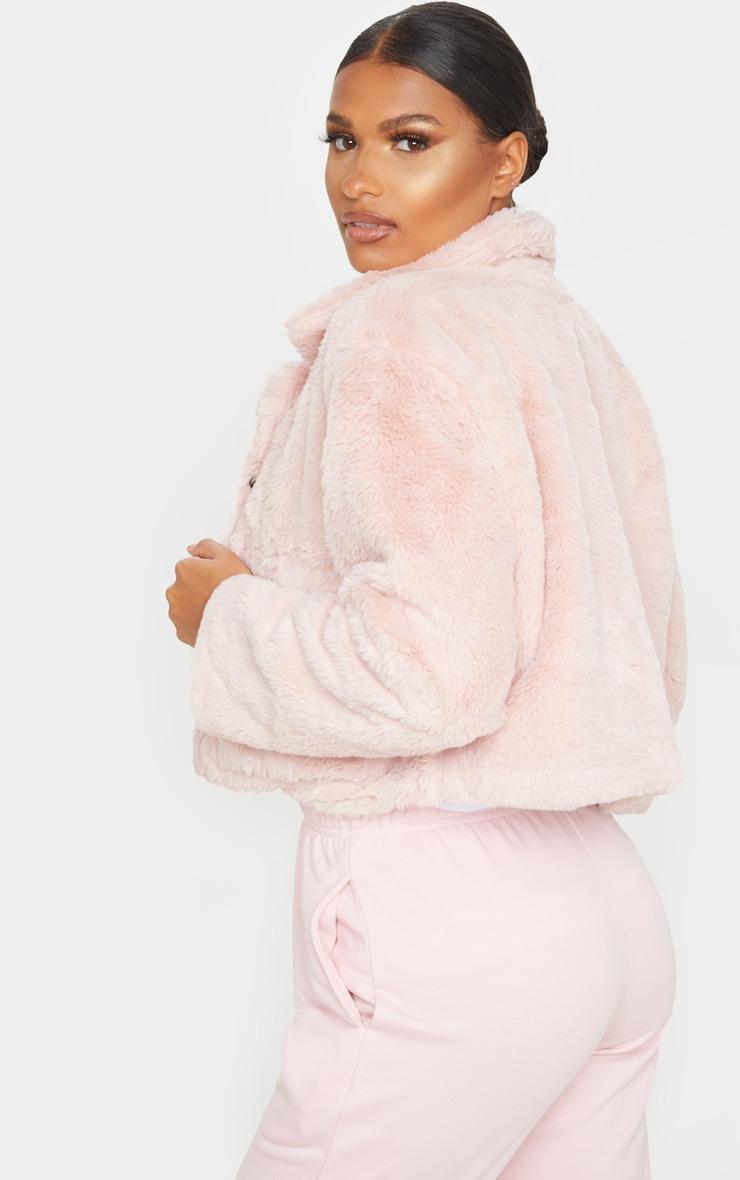 Dusty Pink Faux Fur Cropped Pocket Jacket 2