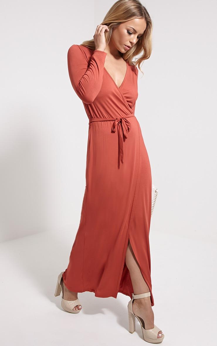 Pennie Rust Wrap Front Maxi Dress 3