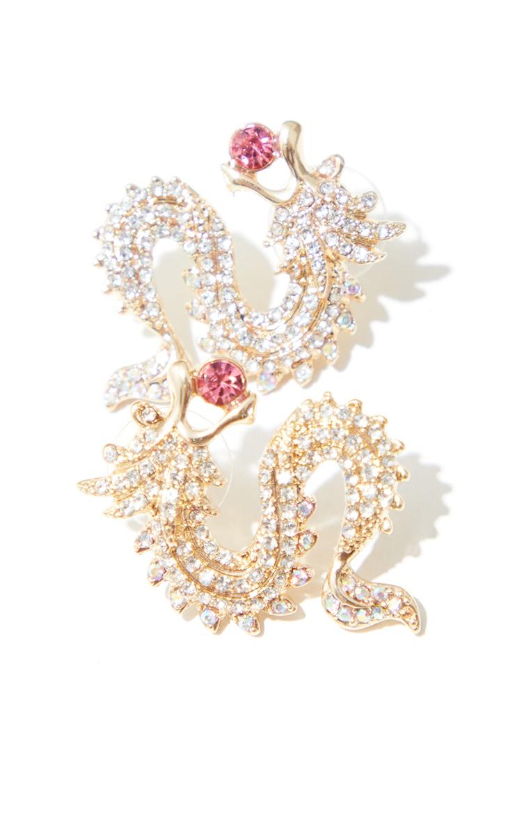 Gold Mini Diamante Pink Gem Dragon Earrings 3
