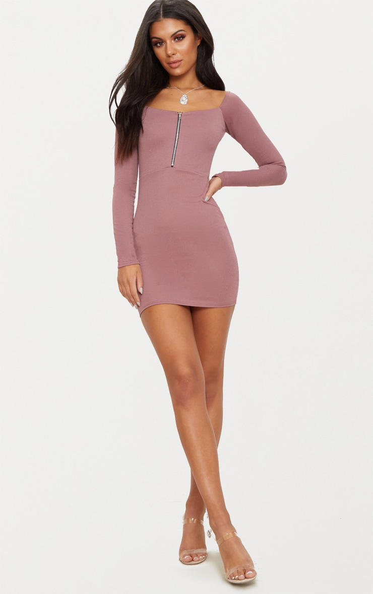 Dark Mauve Zip Detail Square Neck Bodycon Dress 4