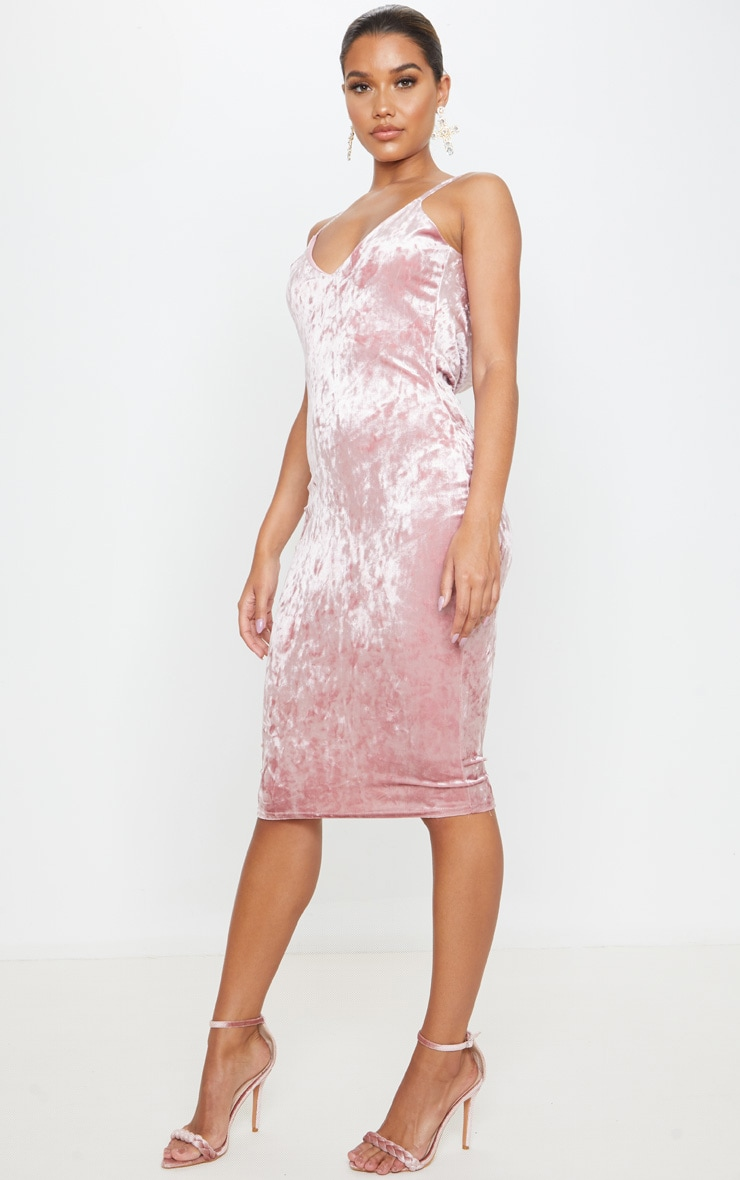 Rose Crushed Velvet Strappy Cowl Back Midi Dress 3