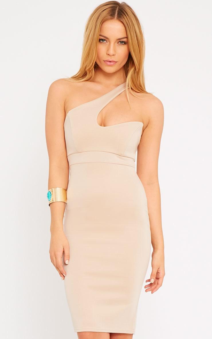 Sonia Camel One Shoulder Midi Dress 3