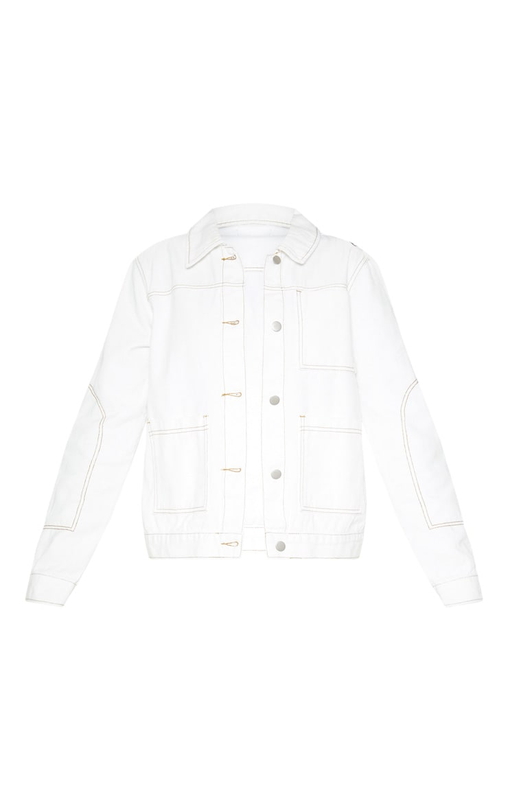 White 3 Pocket Fitted Contrast Stitch Denim Jacket 3