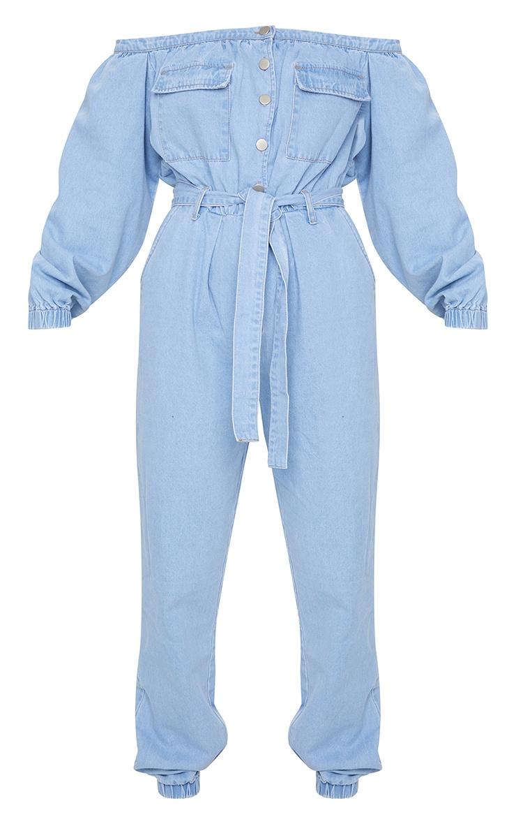 Light Blue Wash Bardot Button Through Denim Joggers Jumpsuit 5
