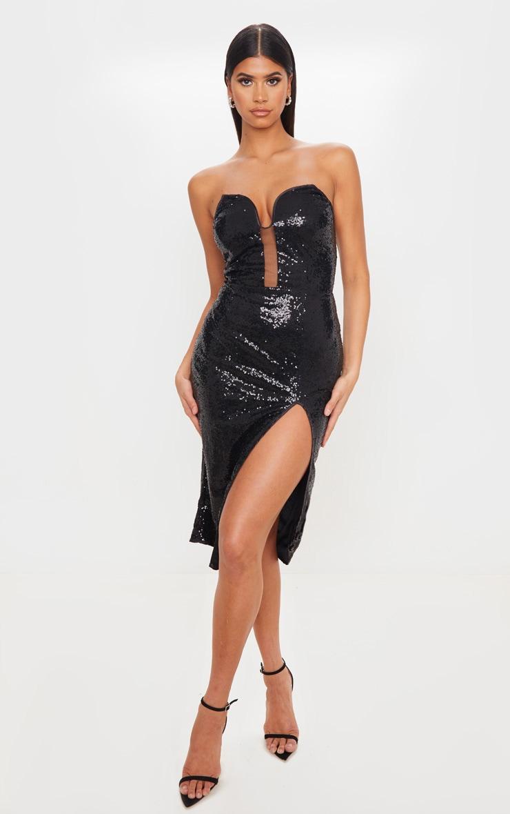 Black Sequin V Bar Extreme Split Midi Dress 1