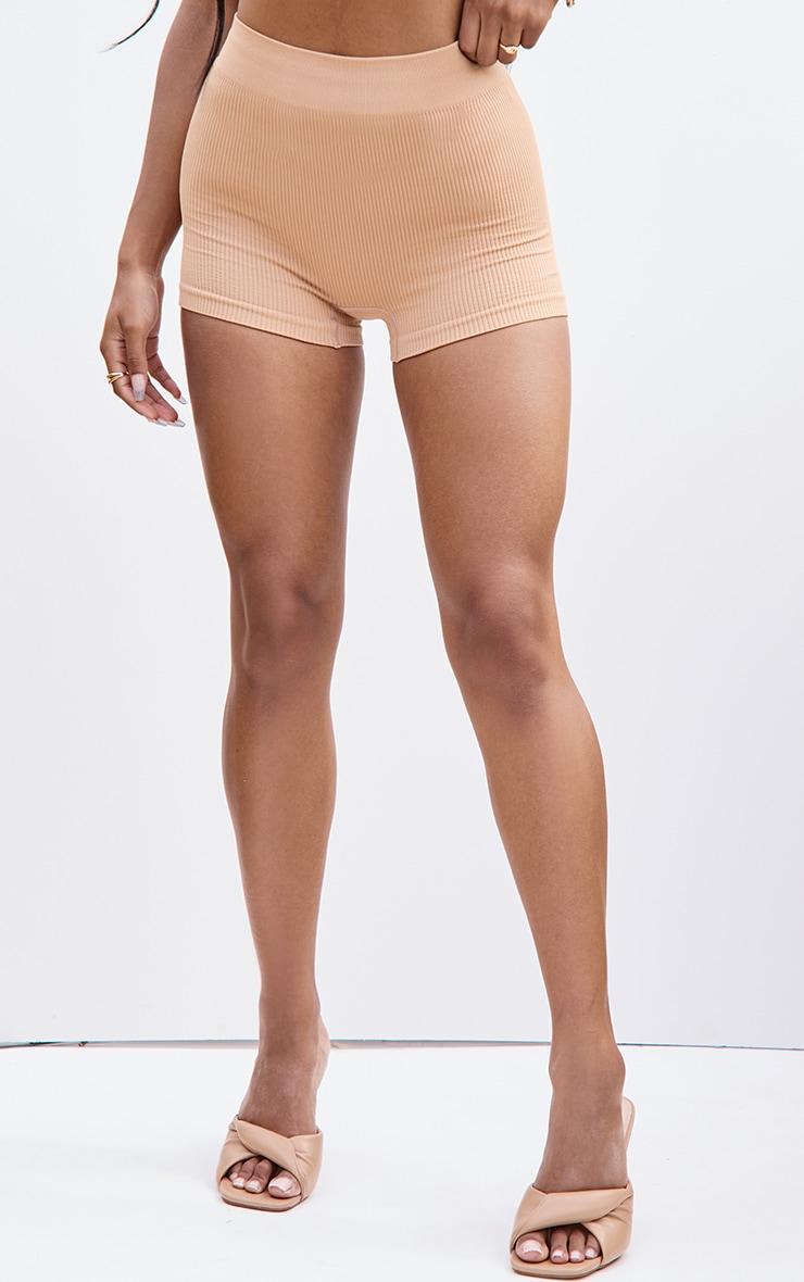 Camel Structured Contour Rib Hot Pants 2