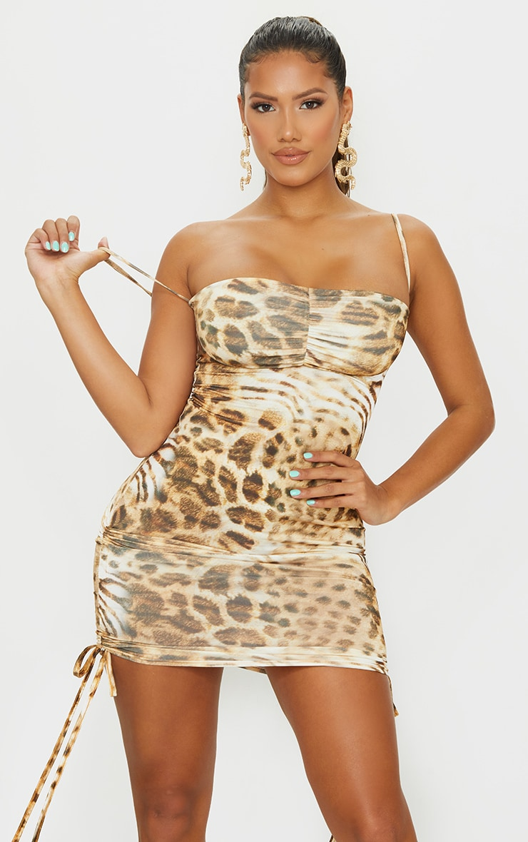Shape Brown Animal Print Slinky Ruched Side Bodycon Dress 1